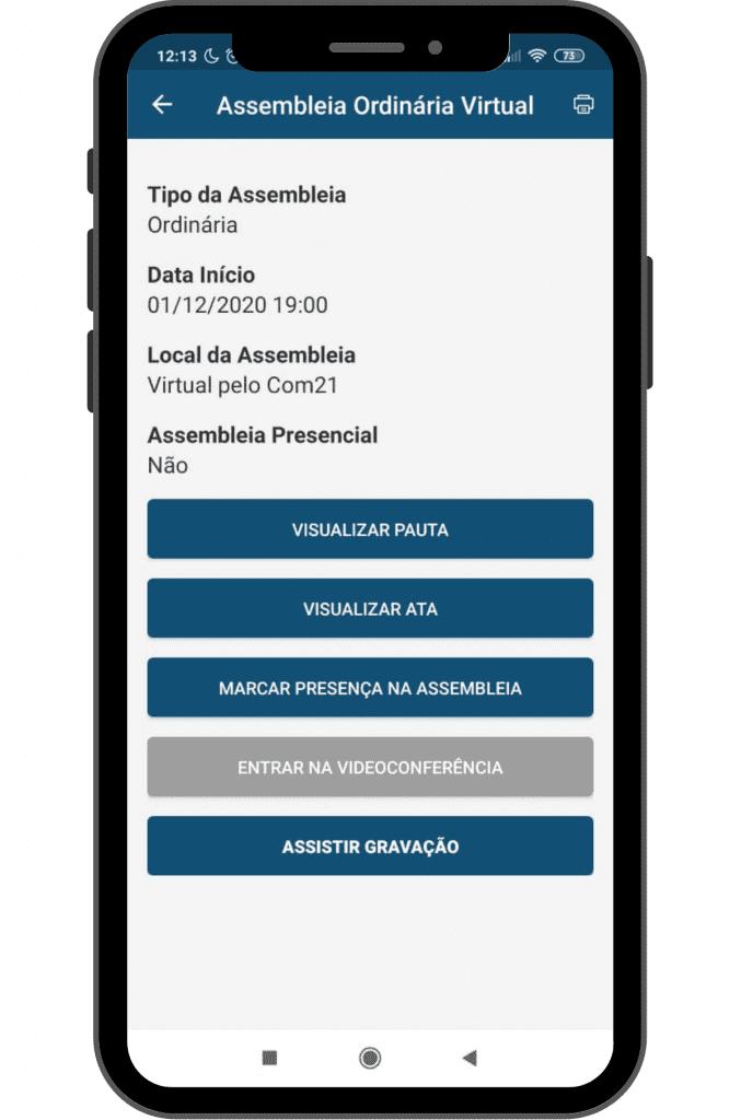 Print de tela de assembleia virtual no COM21