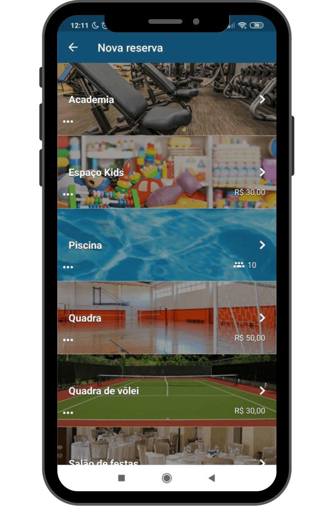 Tela de aplicativo para administração de condomínios.