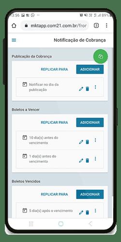 Tela do COM21 da notificação de cobranças para post de aplicativo para imobiliária.